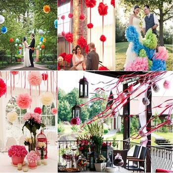 29 colors!!! 4inch 10Pcs Tissue Paper POM POMS Flower Kissing Balls Home Decoration Festive & Party Supplies Wedding Favors