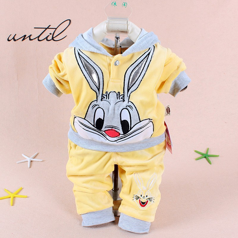 New baby clothing set 2015 Spring/Autumn baby's set cartoon rabbit boys girls clothes twinse suits hoodie pant children clothing(China (Mainland))