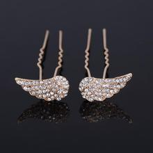 Buy 1Pair/2Pcs Fashion Hair Jewelry Women Gold Color Crystal Wings Hair Fork Wedding Bridal Decorative Hair Accessories U clamp for $1.47 in AliExpress store