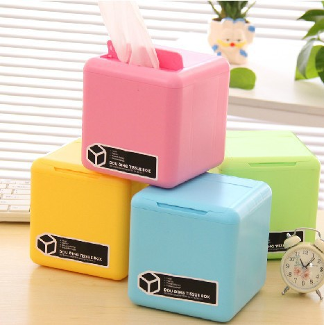 2016 Cartoon Multifunction Tissue Box Candy Colors Cotton Storage Box Multifunction Pumping Tray Free Shipping(China (Mainland))