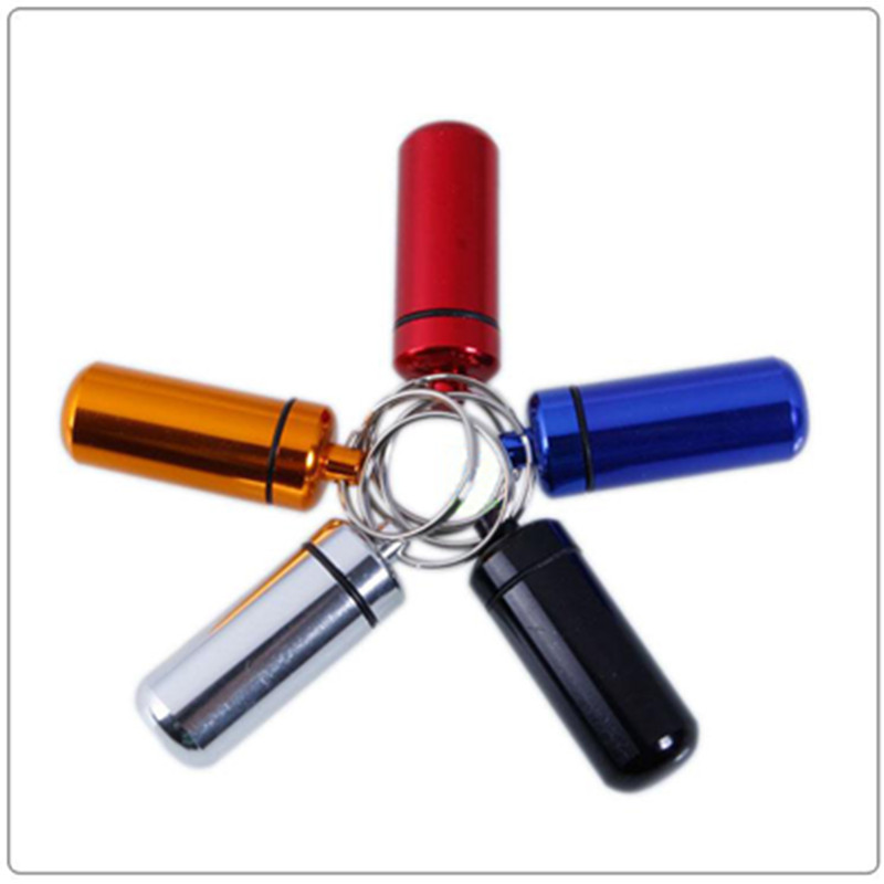 10Pcs/Lot New Arrival Portable Mini Pill Box Case Cache Container Vial Key Rings Keychain Holder(China (Mainland))
