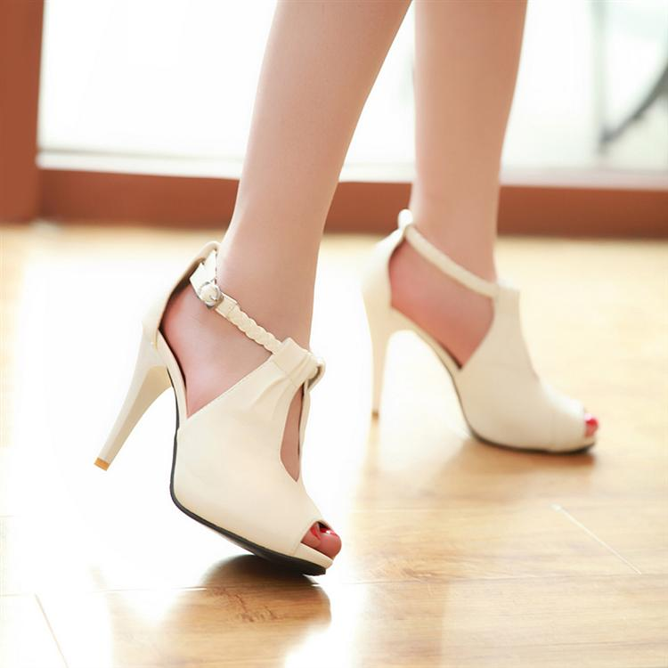 white sandals small size shoes 30 31 32 33 high heeled
