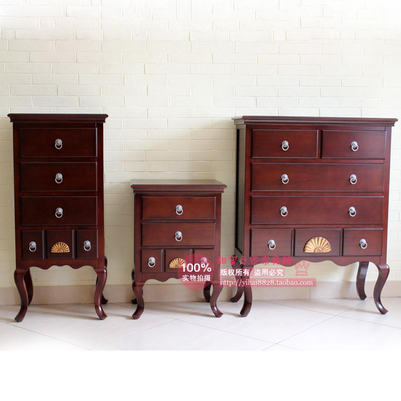 American country European solid wood bedside cabinet drawer cabinet lockers bucket combination thirty-four telephone desk chest(China (Mainland))