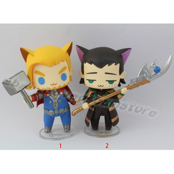 "FREE SHIPPING Animation Cartoon Cool ! Super Heroes The Avengers Thor Dog/Loki Cat 8cm/3.2"" PVC Figure Toy No Box & In Box New(China (Mainland))"