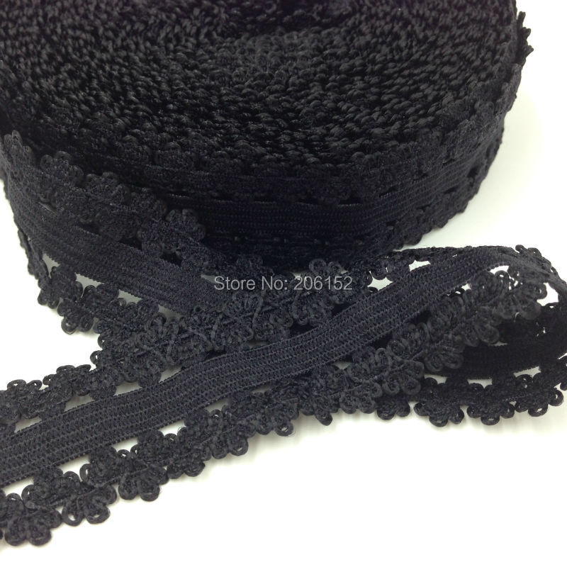 10yards/Lot High Quality 7/8'' Picot Edges Elastic, Stretch Lace, Frilly edges elastic webbing L24 Black Color(China (Mainland))