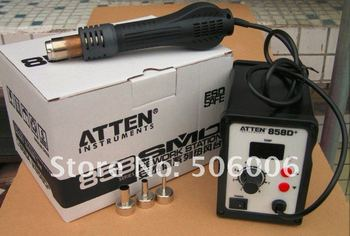 Special offer, ATTEN AT858D+ SMD Hot Air Gun Rework Station Hot Blower Heat Gun 3 FREE nozzles + CHINAPOST Freeshipping