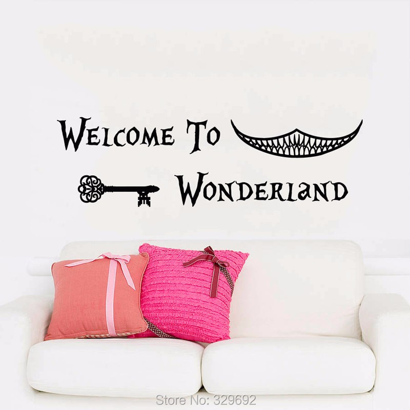 Alice In Wonderland Wall Decal Art Font B Welcome B Font To Wonderland