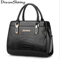DreamShining Hot Sale Guaranteed 100 Shaped Alligator Patent Leather Handbags Zipper Solid Brand Design Women Messenger