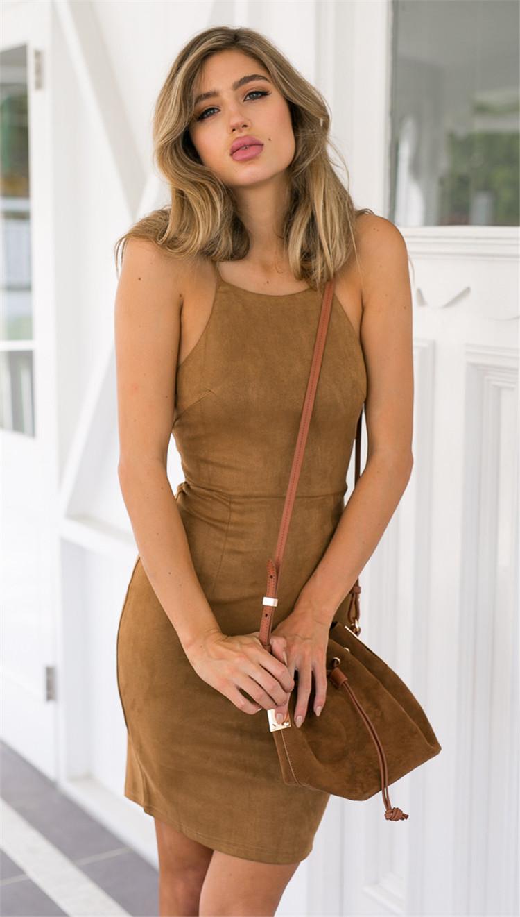 2016 Europea style Summer New Fashion Women Dress Sexy Condole Belt Pullover Backless Dress Light tan Slim Big yards Dress SJ741(China (Mainland))