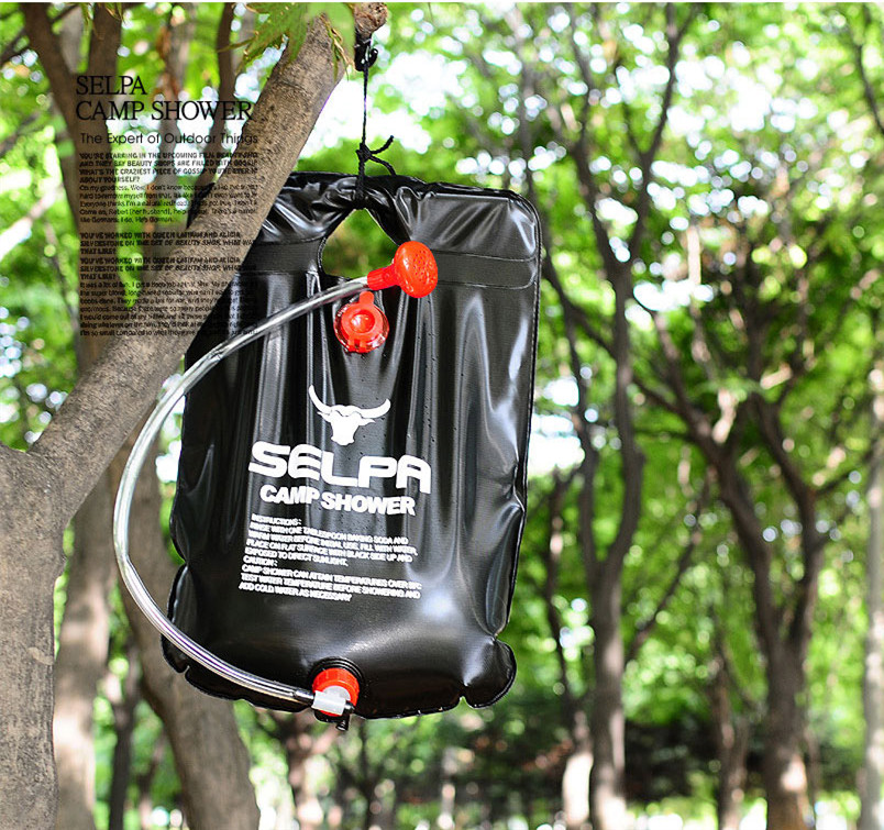 Outdoor Camping Hiking Solar Energy Heated Camp Shower Bag Water Storage BBQ Picnic Travel Kits Non-toxic PVC 20L / 5 Gallons(China (Mainland))