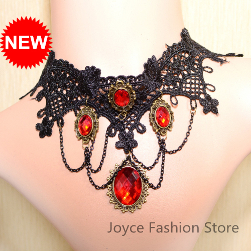 Min Order $10,2013 Statement Vintage Necklaces,Gothic Retro Black Lace False Collar Necklace with Ruby Pendant For Women,N40