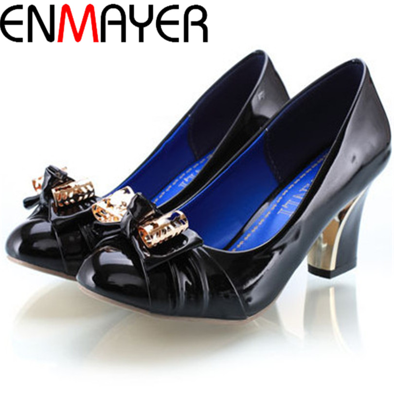 ENMAYER New Big Size 3colors New Style Fashion High Heel Shoes Sexy Bowtie Women Pumps Spring Patent Leather Shoes(China (Mainland))