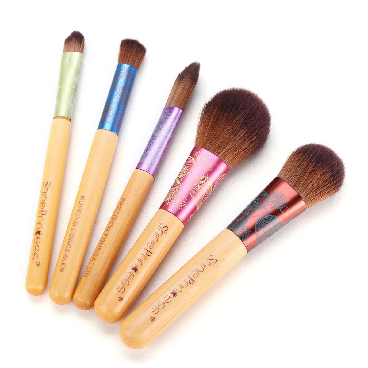 Pro 5Pcs/Set Bamboo Makeup Brush Sets Girls Cosmetic Blush Foundation Powder Brushes Kit Beauty Tools High Quality(China (Mainland))