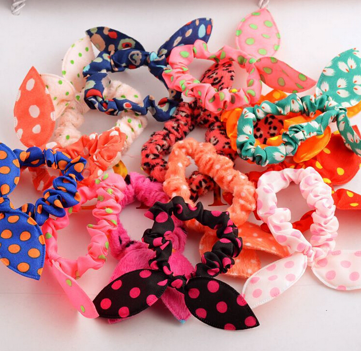 10 Pcs/lot Cute Bunny Baby Girl Flower Hair Clip Headbands Rabbit Ears Dot Headwear Elastic Hair Band Hair Rope(China (Mainland))