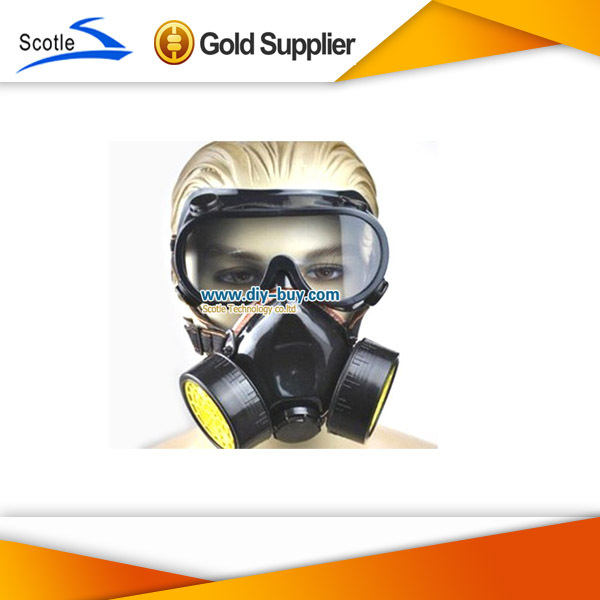 Cheap Double Gas Mask protection filter Chemical Gas Respirator Face Mask(China (Mainland))