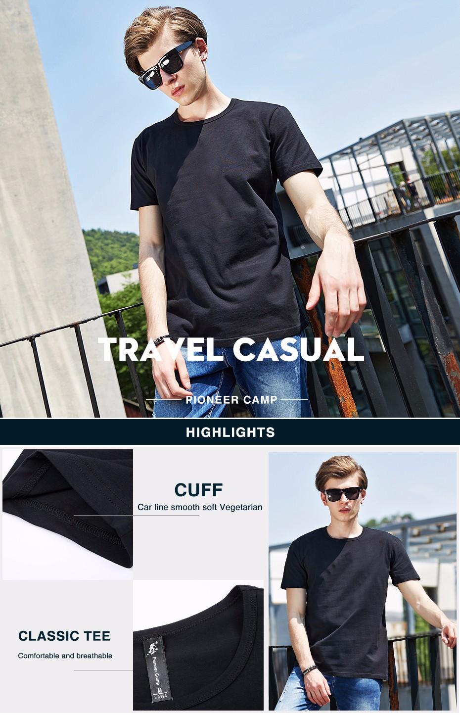 HTB1M6y.KXXXXXXUXFXXq6xXFXXXR - Pioneer Camp t shirt men brand clothing summer solid t-shirt male casual tshirt fashion mens short sleeve plus size 4XL