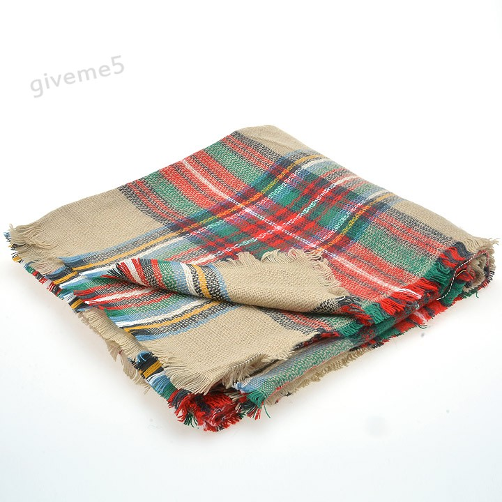 New Details about Lady Women Winter Infinity Blanket Oversized Shawl Plaid Check font b Tartan b