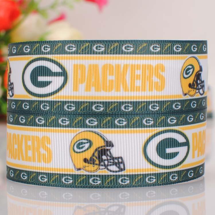 10 yards 7/8''22mm Packers ribbon printed grosgrain Logo ribbon for DIY handmade gift or shoes bows(China (Mainland))