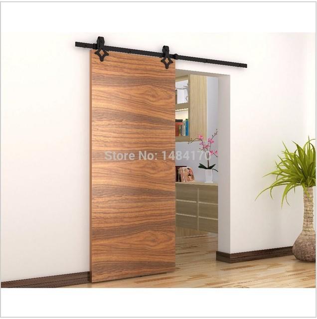Modern sliding steel wooden barn door hardware interior - Kit rail porte coulissante exterieure ...