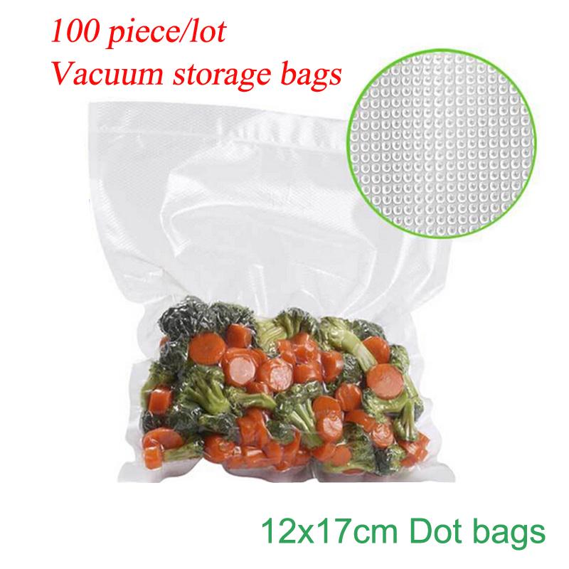 (100 Pieces/Lot ) High Quality One Side Dot Bag VACUUM HEAT SEALER FOOD SAVER BAGS ROLLS Food Storage Bags Saran Wrap 12*17cm(China (Mainland))
