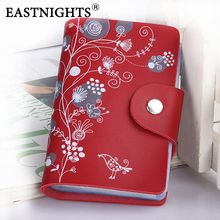 EASTNIGHTS 2016 card holder genuine leather business card holder women leather wallet credit card holder book ID card case(China (Mainland))