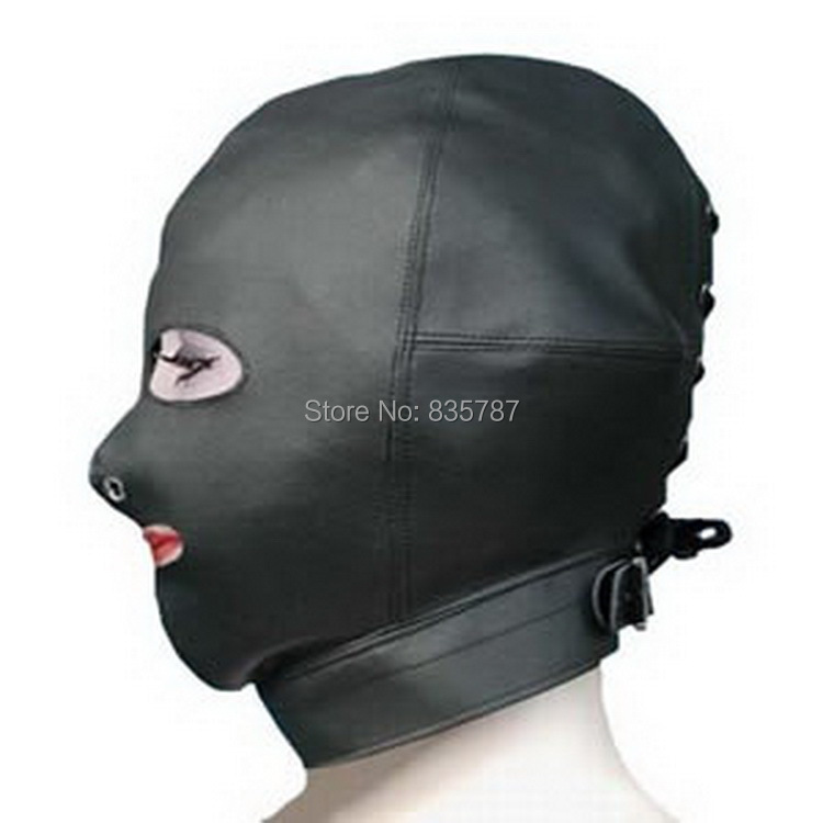 Free Shipping!pu leather head mask slave sex toys for women porn game tool in sex game of couple LL-122(China (Mainland))