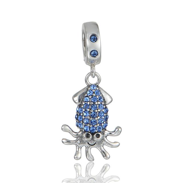 Бусина-подвеска в виде осьминога из штерлингого серебра 925 пробы - для украшения браслетов и поделок. Модная бижутерия!
