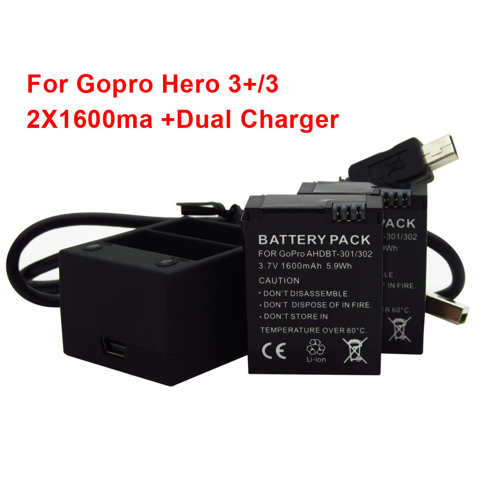 2pcs 1600mAh Rechargeable Batteries Pack Dual charger AHDBT 301 AHDBT 201 for Gopro Hero 3 3