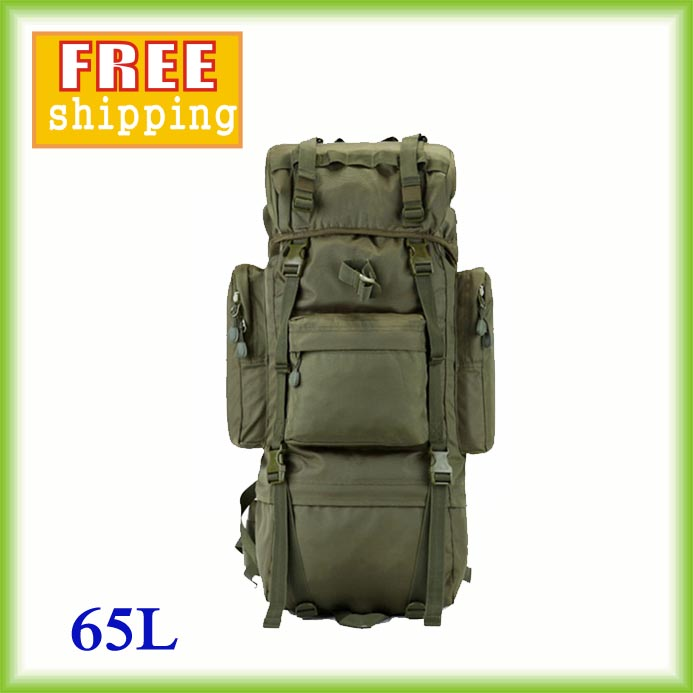 2016 Hot 65L Big Sportsbags Camping Waterproof Backpack Clambing Trekking Ripstop Woodland Backpack camouflage color bags