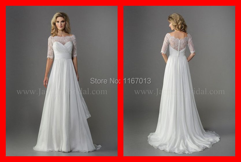 2015 real simple chiffon beach long wedding dresses with for Wedding dress with see through lace bodice