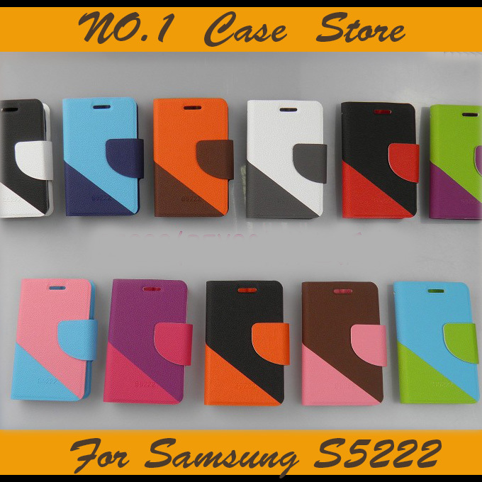 Contrast Color Flip Leather Case Samsung Star 3 DUOS S5222 REX80 Wallet Inside Card Holder Phone Cover Stand Function - NO.1 Store store