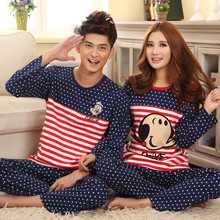 men and women  lovers pajamas cardigan cartoon full cotton long sleeved clothes couples matching pajamas(China (Mainland))