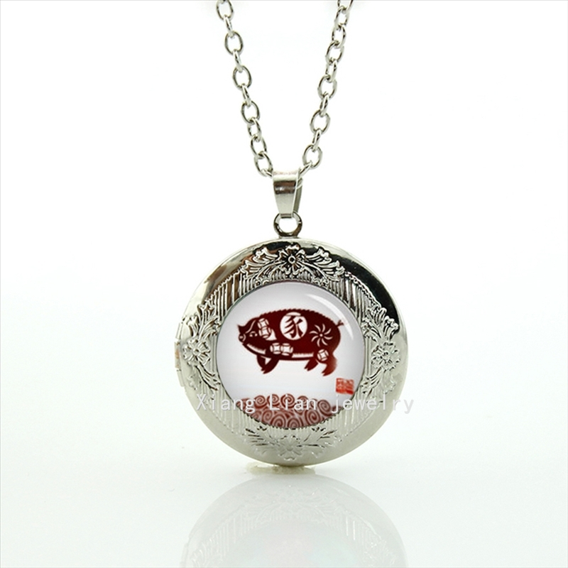New good-looking Chinese twelve hieroglyph zodiac sign picture locket necklace wedding or birthday gift T662(China (Mainland))