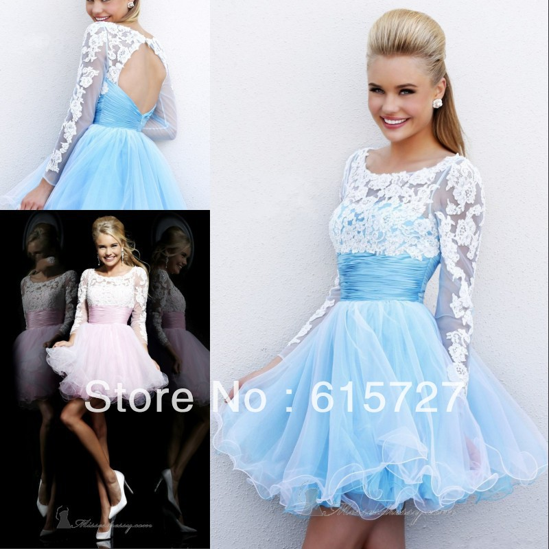 2014 Best Selling Line Stunning Long Sleeve Baby Blue Pink Organza Short Open Back Evening Party Gown Prom Dress Girl Dresses - New York store