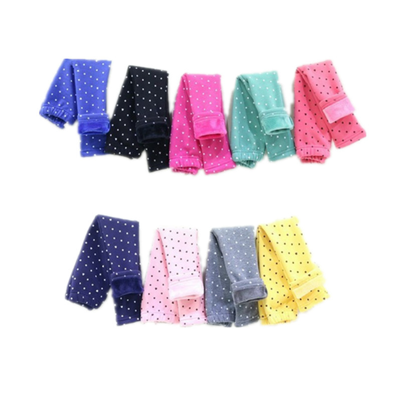 Retail wholesale 2014 autumn and winter dot girl legging girl warmly pants with extra wool girls