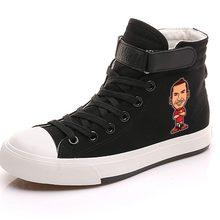 Fútbol Cristiano Ronaldo Messi Club deportes juegos patrón alto tacón doble capa lona zapatillas hombres-Up zapatos adolescentes a19620(China)