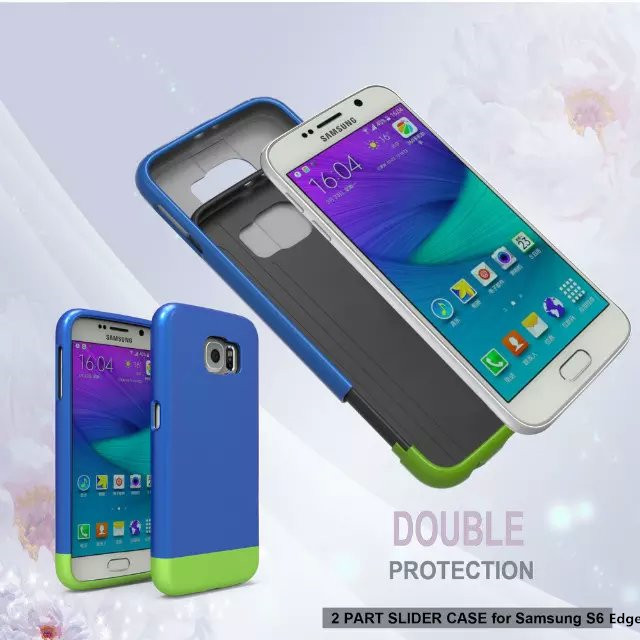 S6 Edge New Fashion Dual color PC +TPU Slider Phone Cases For Samsung Galaxy S6 Edge G925 Back Cover Shell(China (Mainland))