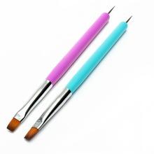 Wholesale New Excellent Single Nail Art Dotting Pen With Nail Brushes Acrylic Gel Polish Pen Drawing Brush Manicure Tool 100pcs(China (Mainland))