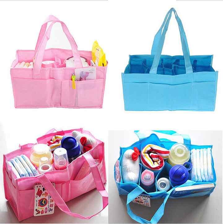 Гаджет  Portable Multifunction Mummy Hand Bag Baby Bottle Diaper Storage Tote Environmental Non-Woven 7 Separate Bag None Детские товары