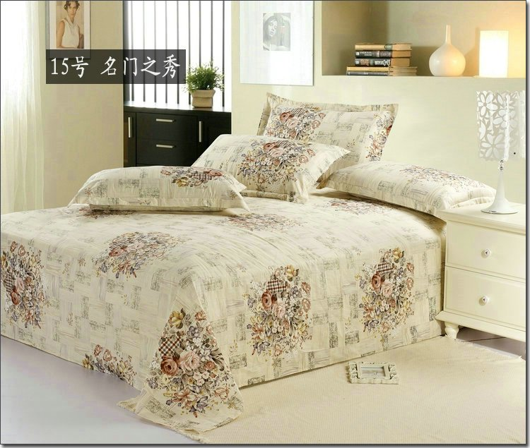 Hot Sale Beautiful Fashion Home Textile Bedding Bed Sheet Full Queen Size 100 Cotton Floral