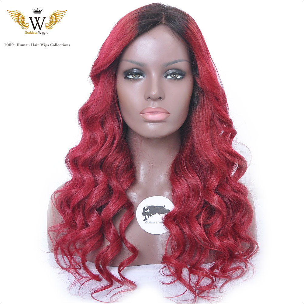 180 Density Red Brazilian Virgin Hair Lace Front Wigs For Black Women Glueless Ombre Curly Full Lace Front Wigs With Baby Hair <br><br>Aliexpress