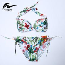 Plus Size Bikini Sets Retro Leaf Floral Printed Swimwear Women Push Up Biquini Triangle Bottom Swimsuit Bathing Suit Large M-3XL