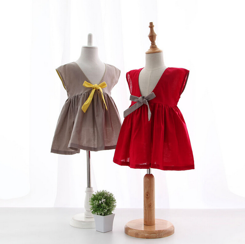 2016 Princess Kids Cotton Liner V-Collar Vest Summer Dress, Baby Girls Cute Clothing 6 pcs/lot,Wholesale(China (Mainland))