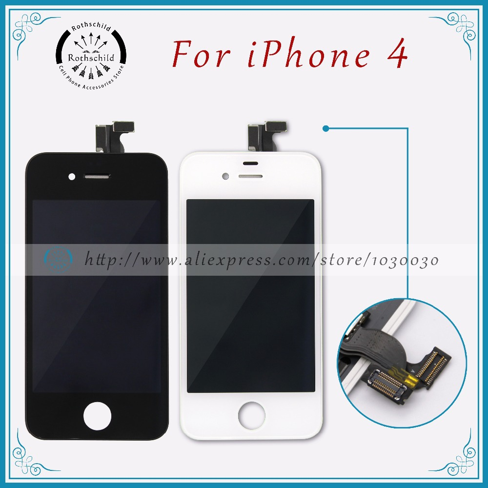 No Dead Pixel Original LCD Display Screen Replacement For Apple iPhone 4 LCD with Dust Mesh and Connection Pad (Black White)(China (Mainland))
