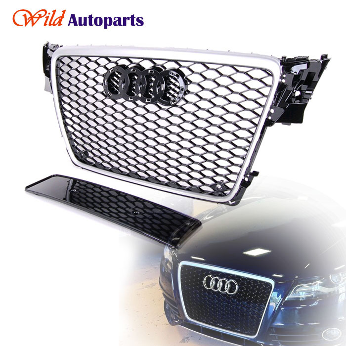 Euro RS4 Style Front Silver + Black Mesh Sline Grill Grille for Audi A4 S4 B8 8K 2009 2010 2011 2012(China (Mainland))