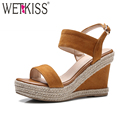WETKISS 2017 New Kid Suede Leather Women Sandals Fashion Straw Weave Wedges Summer Shoes Woman Back