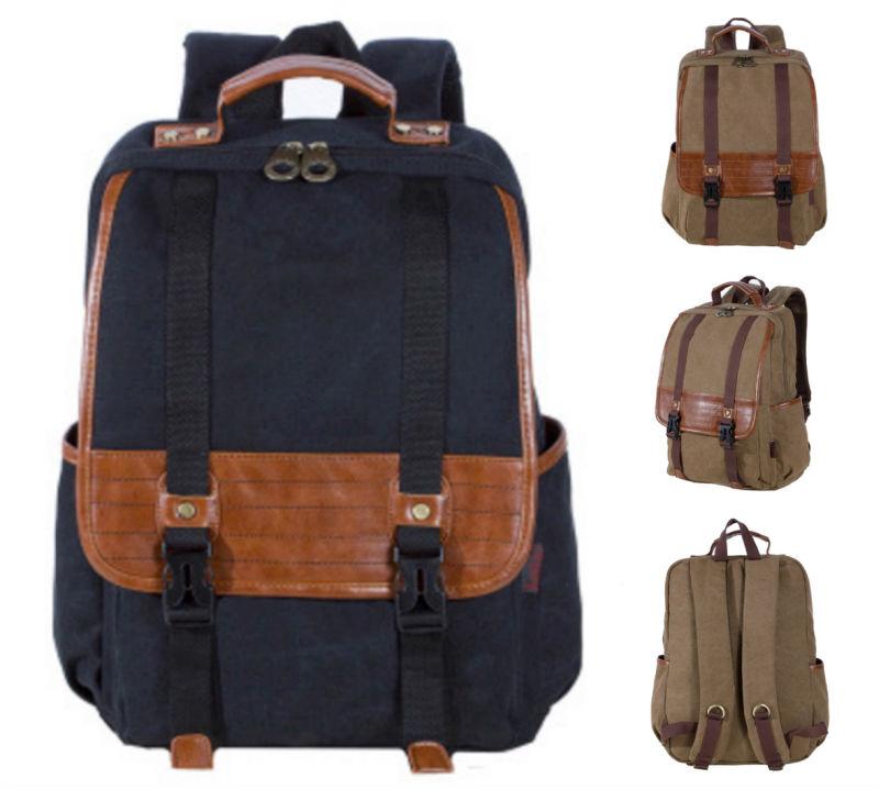 High quality Canvas PU leather man Backpack 2016 famous fashion vintage designer brand KAUKKO School Travel Bag laptop Backpacks(China (Mainland))