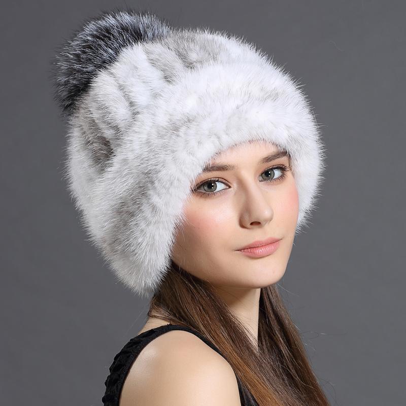 Women's Winter Hats 2016 Knitted Beanie With Fox Fur Ball Women Customized Headgear Hat For Women Casual Female Mink Fur Hats(China (Mainland))