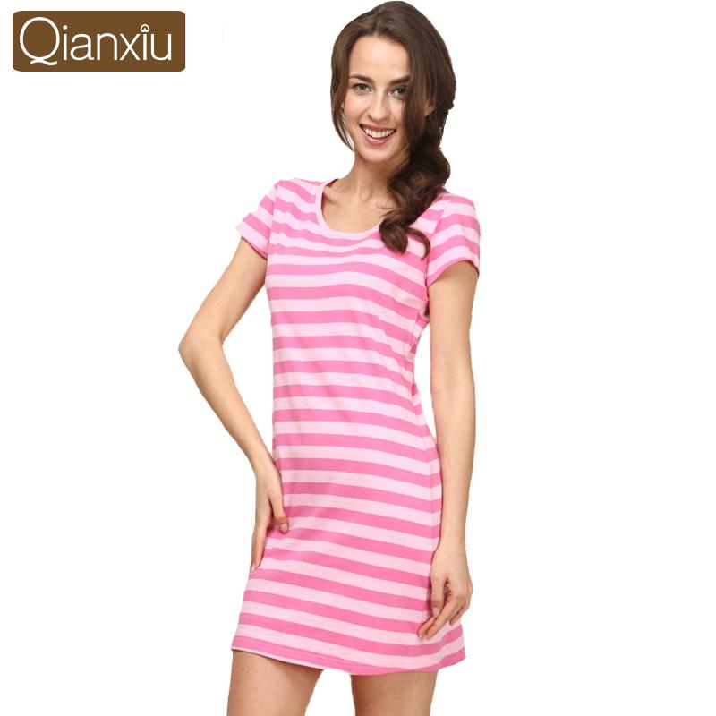 Qianxiu Brand Pajamas Summer Sleeepshirts Cotton Nightgown Women short-sleeve Home dress Free Shipping(China (Mainland))