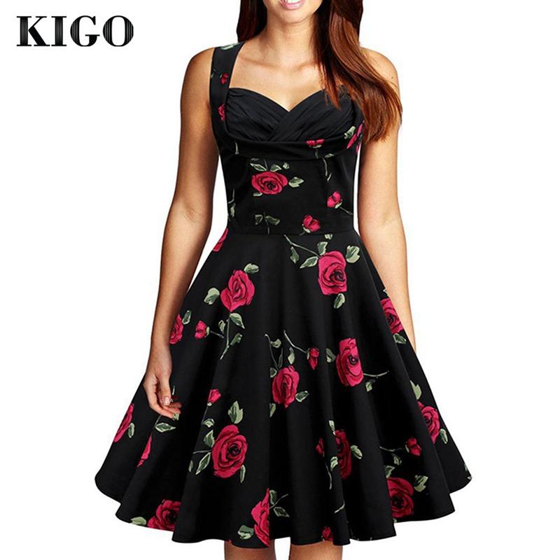 KIGO Women Summer Floral Dress Retro 50s Vintage Dresses Audrey Hepurn Elegant Casual Classic OL Pleated 1950s Rockabilly Dress(China (Mainland))